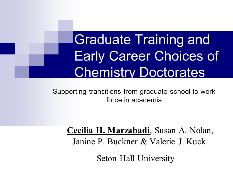 Graduate Training and Early Career Choices of Chemistry Doctorates Cecilia H.