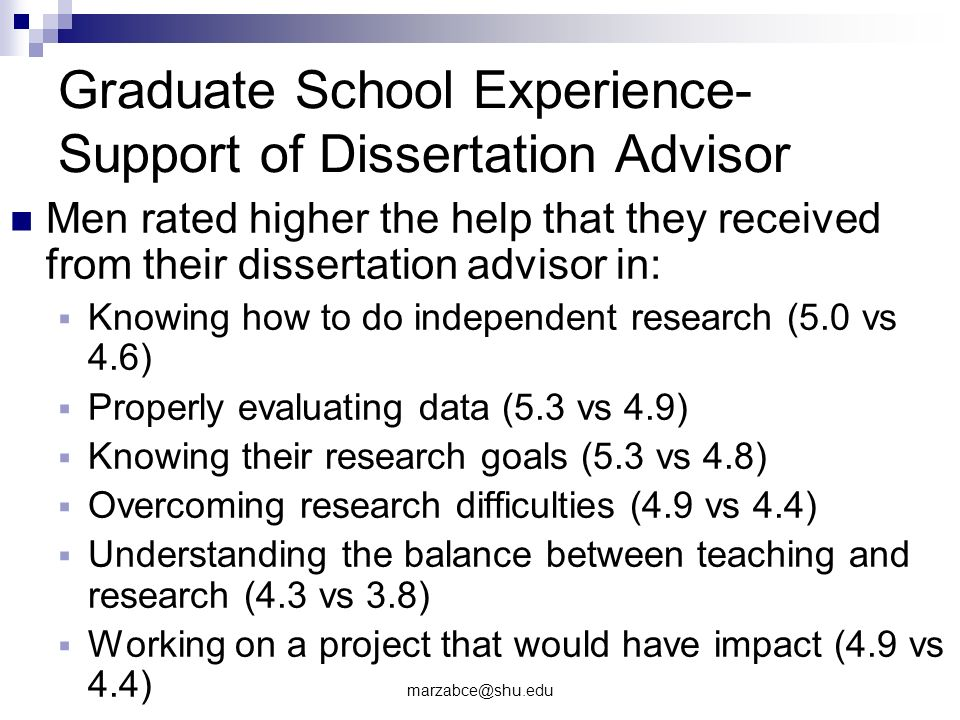 Graduate School Experience- Support of Dissertation Advisor Men rated higher the help that they received from their dissertation advisor in: Knowing how to do independent research (5.0 vs 4.6) Properly evaluating data (5.3 vs 4.9) Knowing their research goals (5.3 vs 4.8) Overcoming research difficulties (4.9 vs 4.4) Understanding the balance between teaching and research (4.3 vs 3.8) Working on a project that would have impact (4.9 vs 4.4)