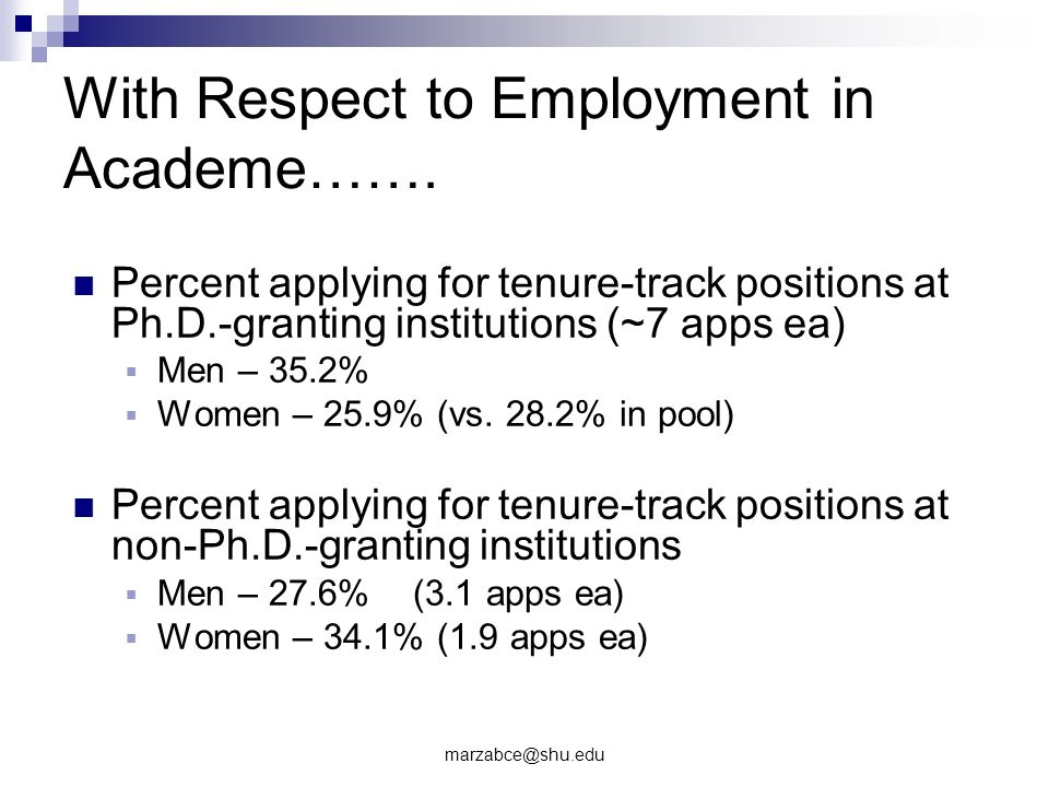 With Respect to Employment in Academe…….