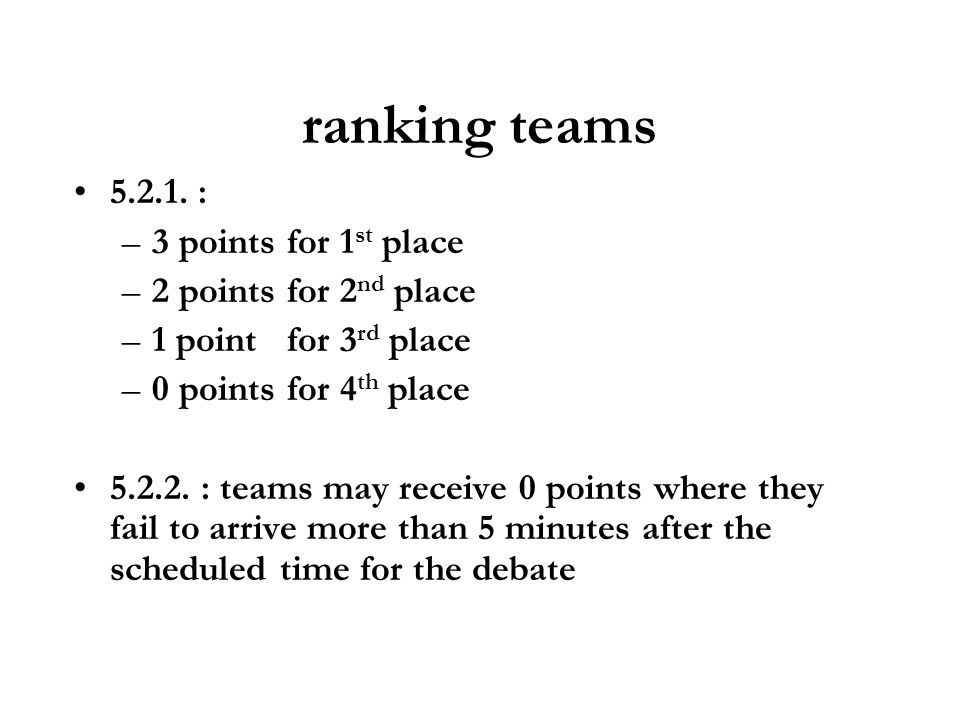 ranking teams 5.2.1. : –3 points for 1 st place –2 points for 2 nd place –1 point for 3 rd place –0 points for 4 th place 5.2.2. : teams may receive 0