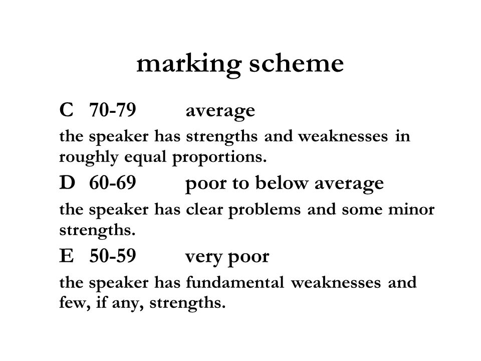marking scheme C 70-79average the speaker has strengths and weaknesses in roughly equal proportions. D 60-69poor to below average the speaker has clea