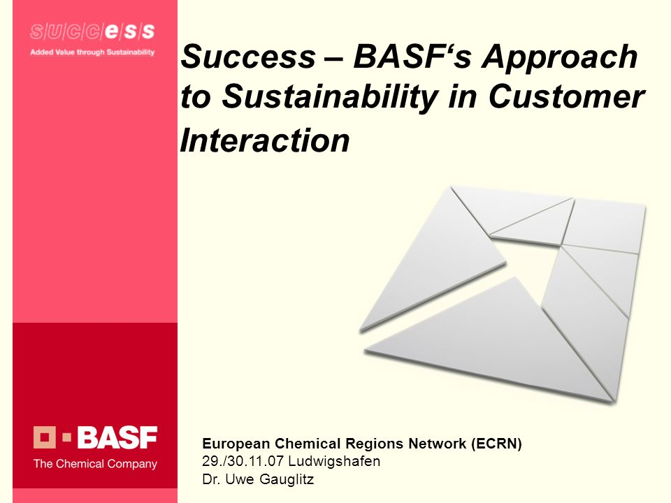 Success – BASFs Approach to Sustainability in Customer Interaction European Chemical Regions Network (ECRN) 29./30.11.07 Ludwigshafen Dr. Uwe Gauglitz