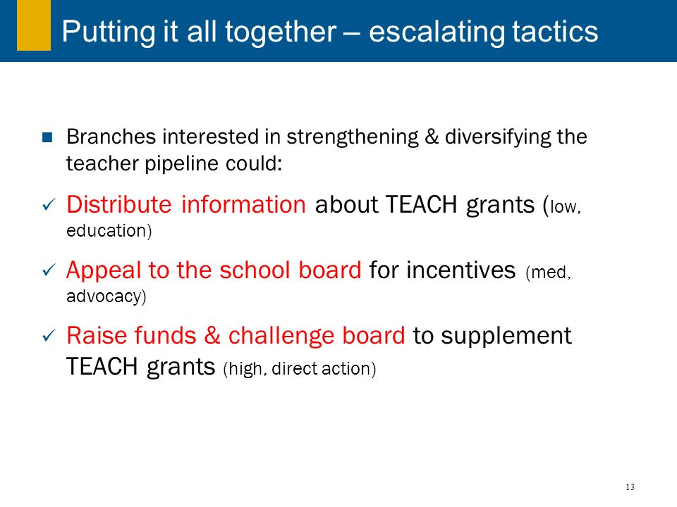 13 Putting it all together – escalating tactics Branches interested in strengthening & diversifying the teacher pipeline could: Distribute information