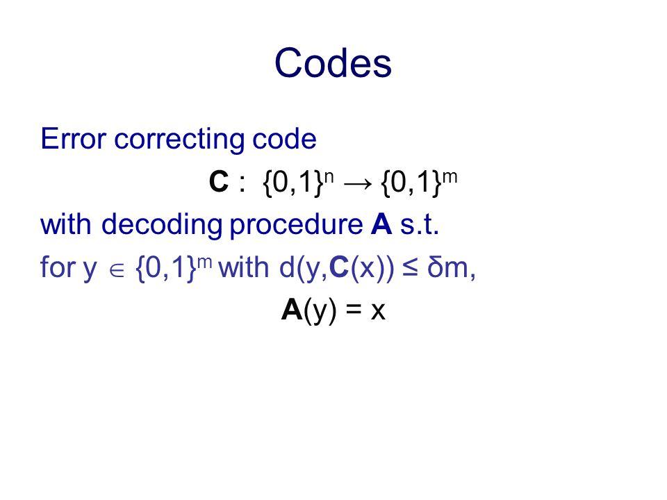 Codes Error correcting code C : {0,1} n {0,1} m with decoding procedure A s.t. for y {0,1} m with d(y,C(x)) δm, A(y) = x