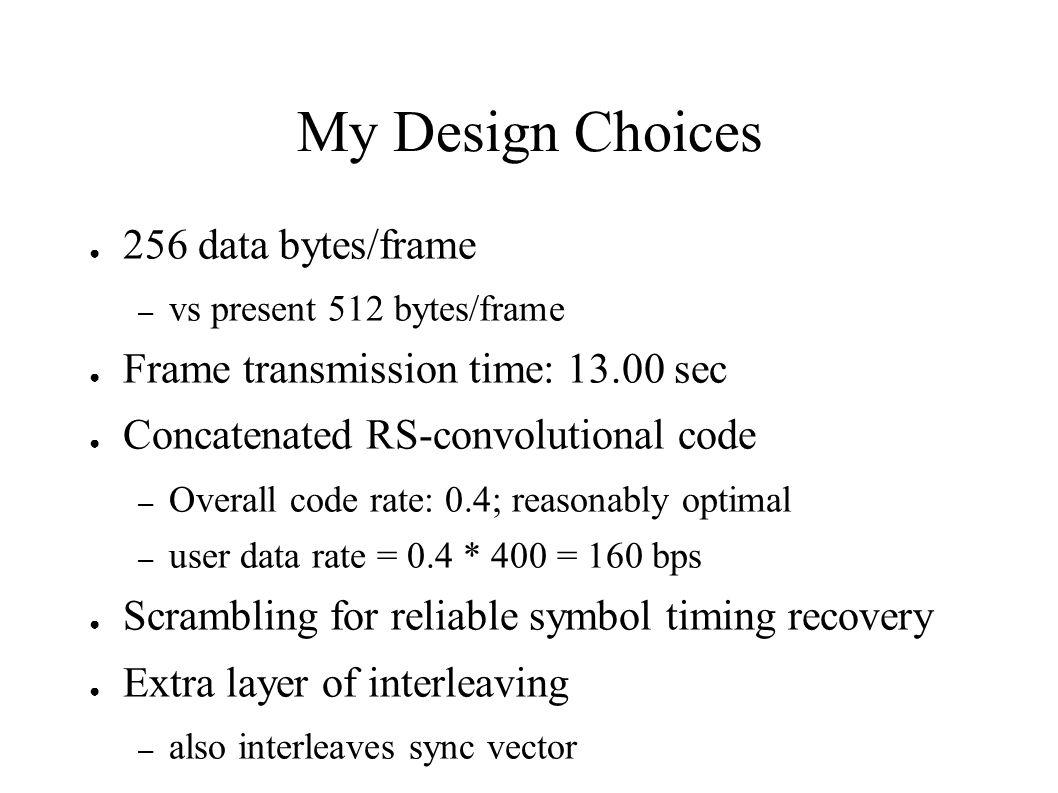 My Design Choices 256 data bytes/frame – vs present 512 bytes/frame Frame transmission time: 13.00 sec Concatenated RS-convolutional code – Overall co