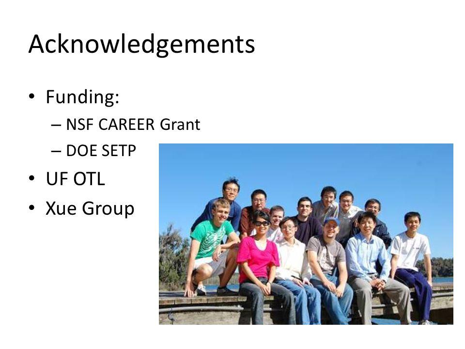 Acknowledgements Funding: – NSF CAREER Grant – DOE SETP UF OTL Xue Group