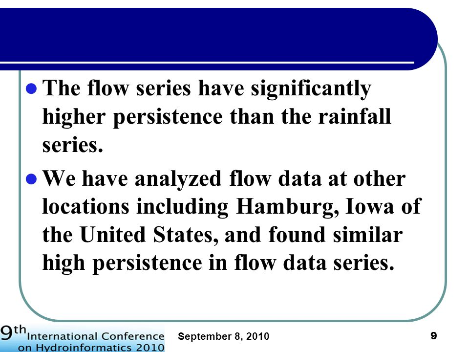 September 8, 2010 10 The Problem of Lagged Forecast