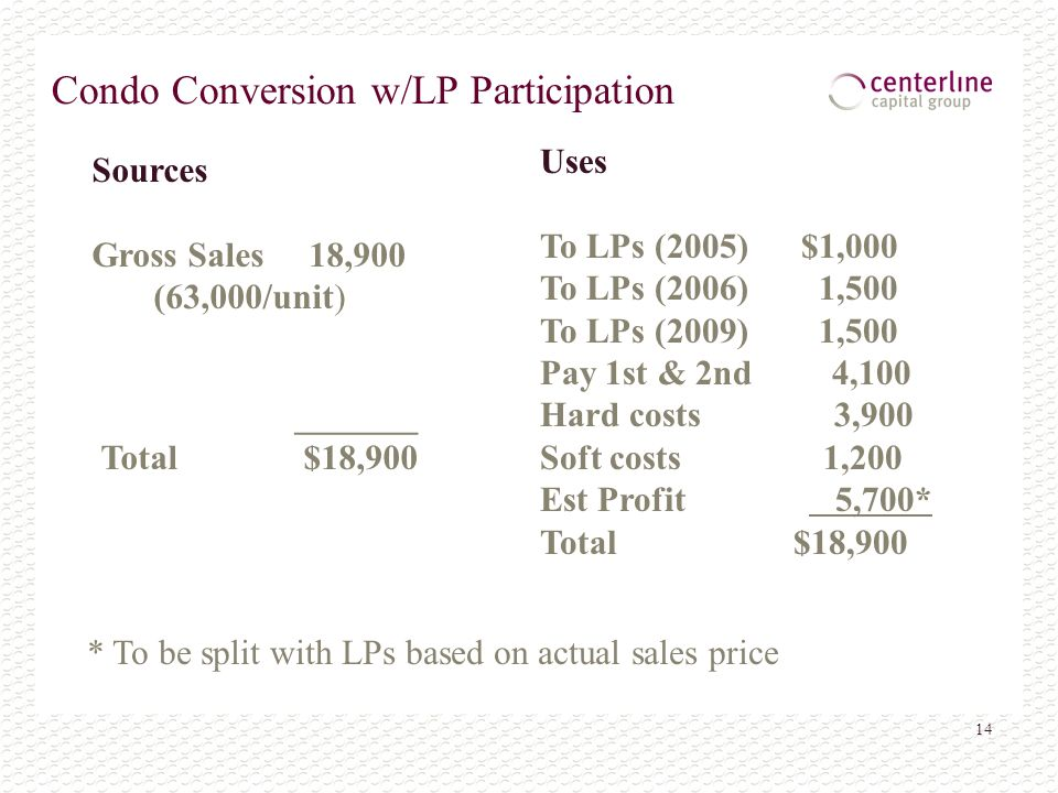 14 Condo Conversion w/LP Participation * To be split with LPs based on actual sales price Sources Gross Sales 18,900 (63,000/unit) Uses To LPs (2005)