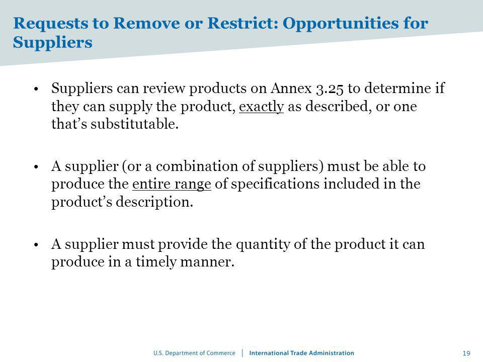Requests to Remove or Restrict: Opportunities for Suppliers Suppliers can review products on Annex 3.25 to determine if they can supply the product, e