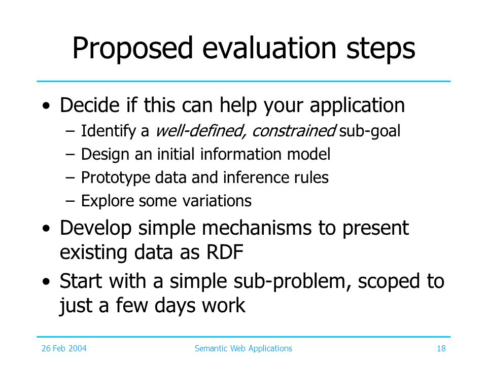 26 Feb 2004Semantic Web Applications18 Proposed evaluation steps Decide if this can help your application –Identify a well-defined, constrained sub-go