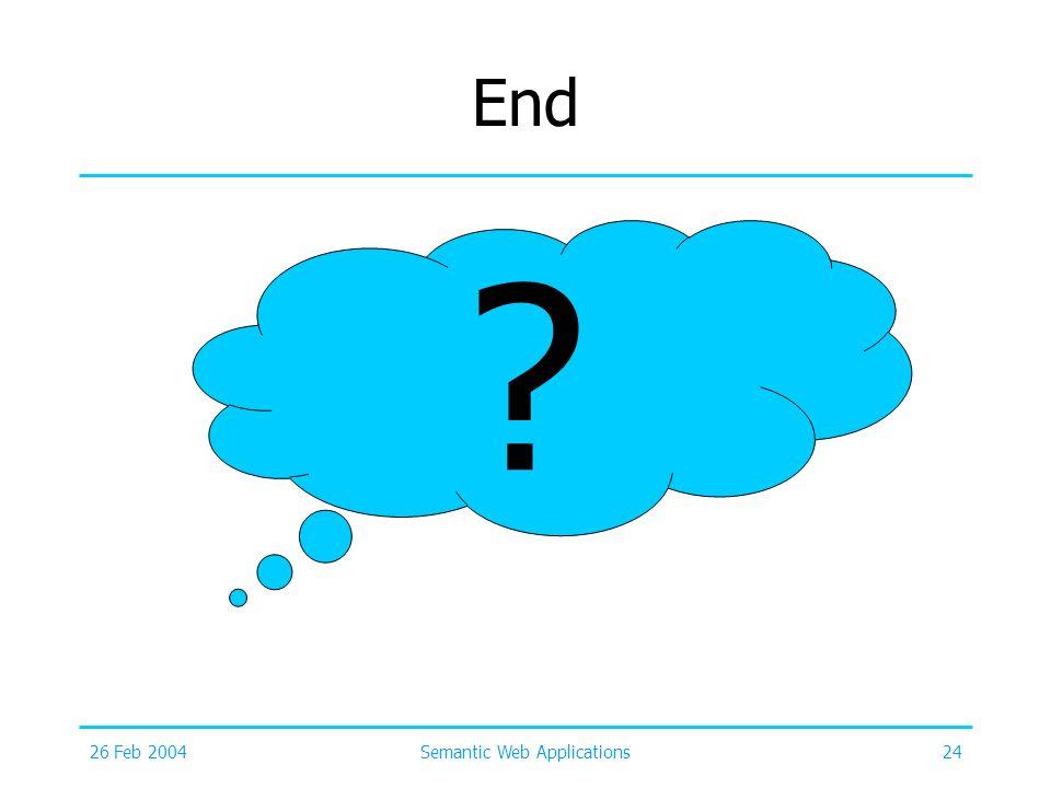 26 Feb 2004Semantic Web Applications24 End ?