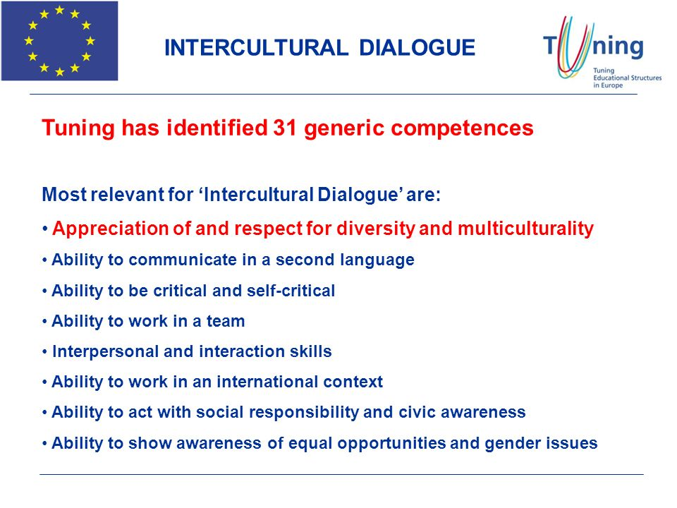 INTERCULTURAL DIALOGUE Tuning has identified 31 generic competences Most relevant for Intercultural Dialogue are: Appreciation of and respect for dive