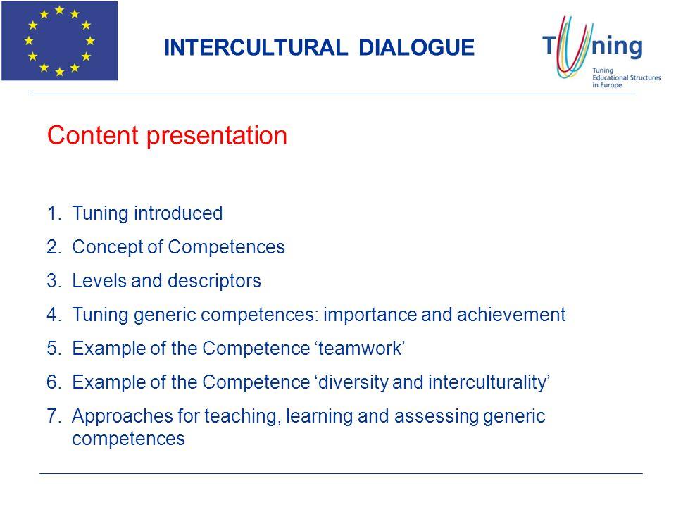 INTERCULTURAL DIALOGUE Content presentation 1.Tuning introduced 2.Concept of Competences 3.Levels and descriptors 4.Tuning generic competences: import