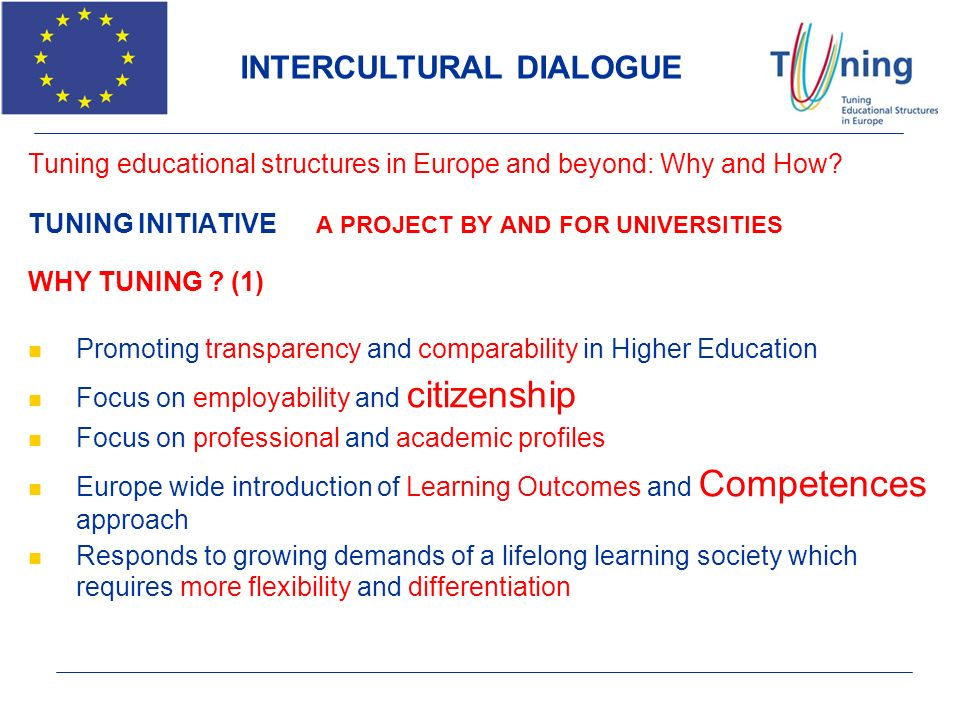 Tuning educational structures in Europe and beyond: Why and How? TUNING INITIATIVE A PROJECT BY AND FOR UNIVERSITIES WHY TUNING ? (1) Promoting transp