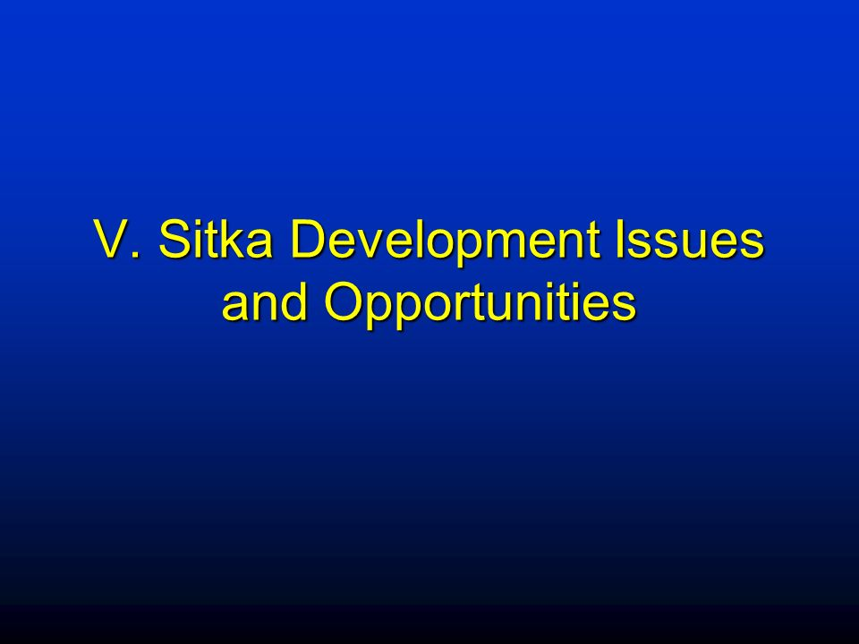 V. Sitka Development Issues and Opportunities