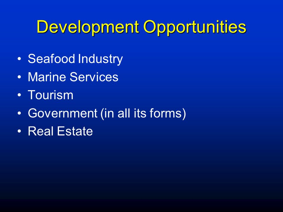 Development Opportunities Seafood Industry Marine Services Tourism Government (in all its forms) Real Estate