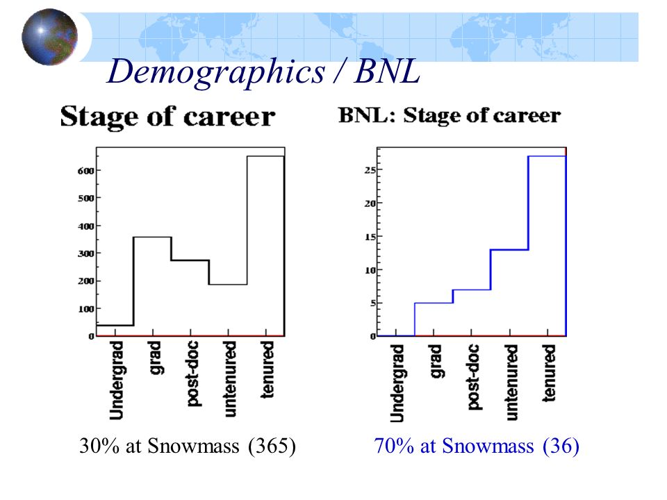 Demographics / BNL 30% at Snowmass (365)70% at Snowmass (36)