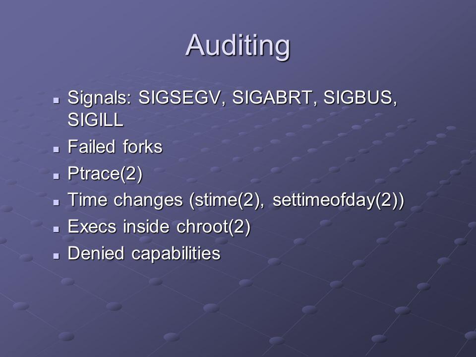 Auditing Signals: SIGSEGV, SIGABRT, SIGBUS, SIGILL Signals: SIGSEGV, SIGABRT, SIGBUS, SIGILL Failed forks Failed forks Ptrace(2) Ptrace(2) Time change