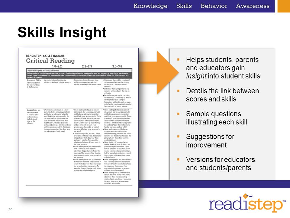 29 Skills Insight Helps students, parents and educators gain insight into student skills Details the link between scores and skills Sample questions i