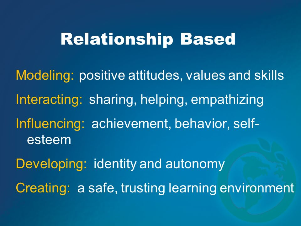 Modeling: positive attitudes, values and skills Interacting: sharing, helping, empathizing Influencing: achievement, behavior, self- esteem Developing