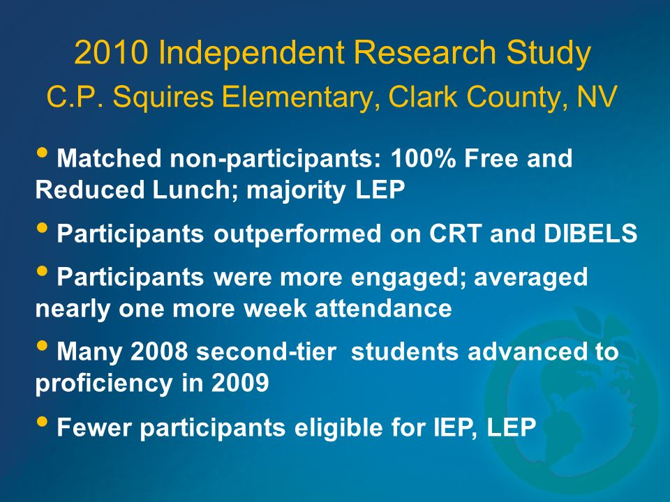 2010 Independent Research Study C.P. Squires Elementary, Clark County, NV Matched non-participants: 100% Free and Reduced Lunch; majority LEP Particip