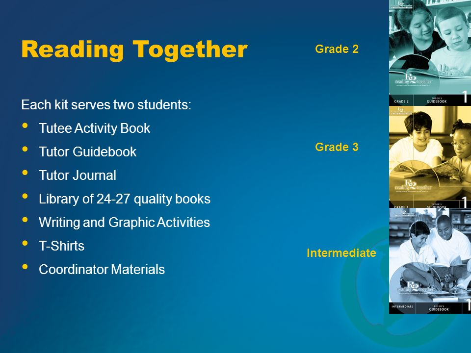 Each kit serves two students: Library of 24-27 quality books Writing and Graphic Activities T-Shirts Tutee Activity Book Tutor Guidebook Tutor Journal