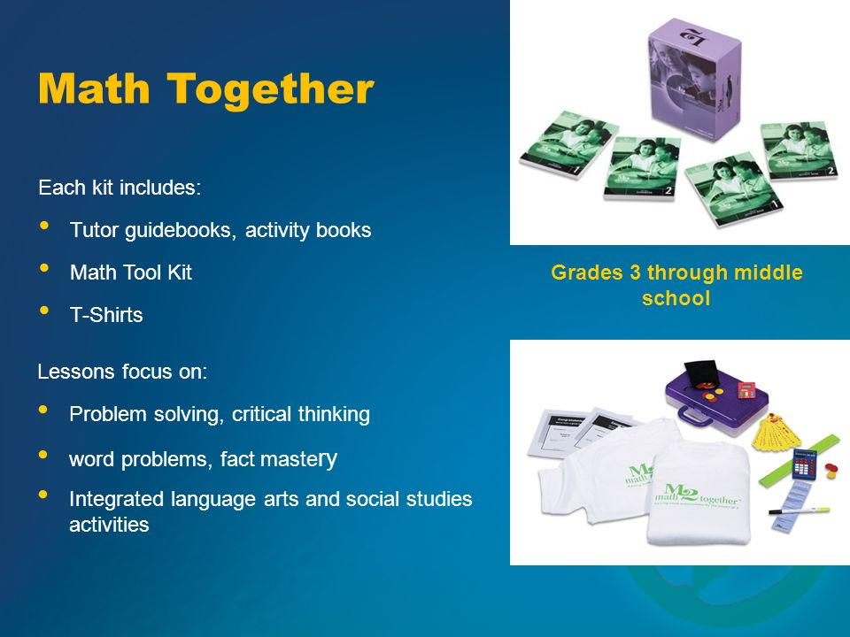 Grades 3 through middle school Each kit includes: Lessons focus on: Problem solving, critical thinking word problems, fact maste ry Tutor guidebooks,