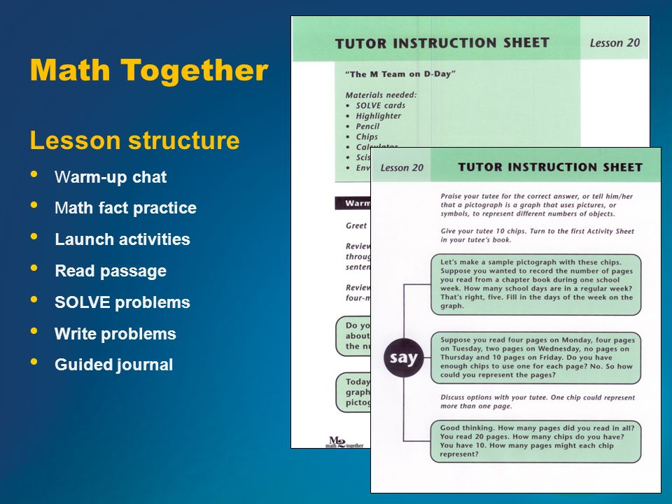 Lesson structure Warm-up chat Math fact practice Launch activities Read passage SOLVE problems Write problems Guided journal