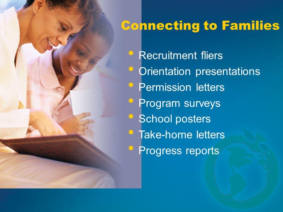 Connecting to Families Recruitment fliers Orientation presentations Permission letters Program surveys School posters Take-home letters Progress repor