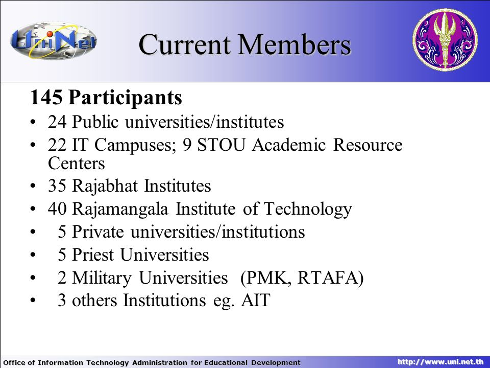 Office of Information Technology Administration for Educational Development http://www.uni.net.th Current Members 145 Participants 24 Public universit