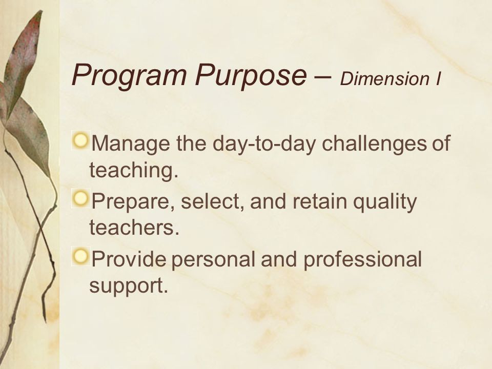 Program Purpose – Dimension I Manage the day-to-day challenges of teaching. Prepare, select, and retain quality teachers. Provide personal and profess
