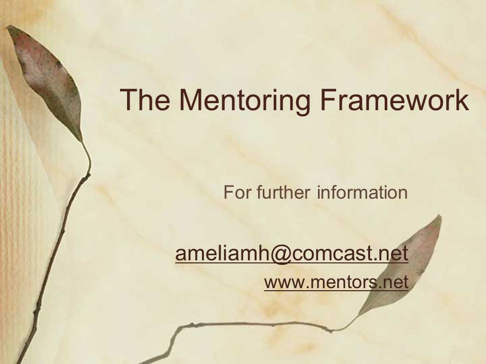 The Mentoring Framework For further information ameliamh@comcast.net www.mentors.net