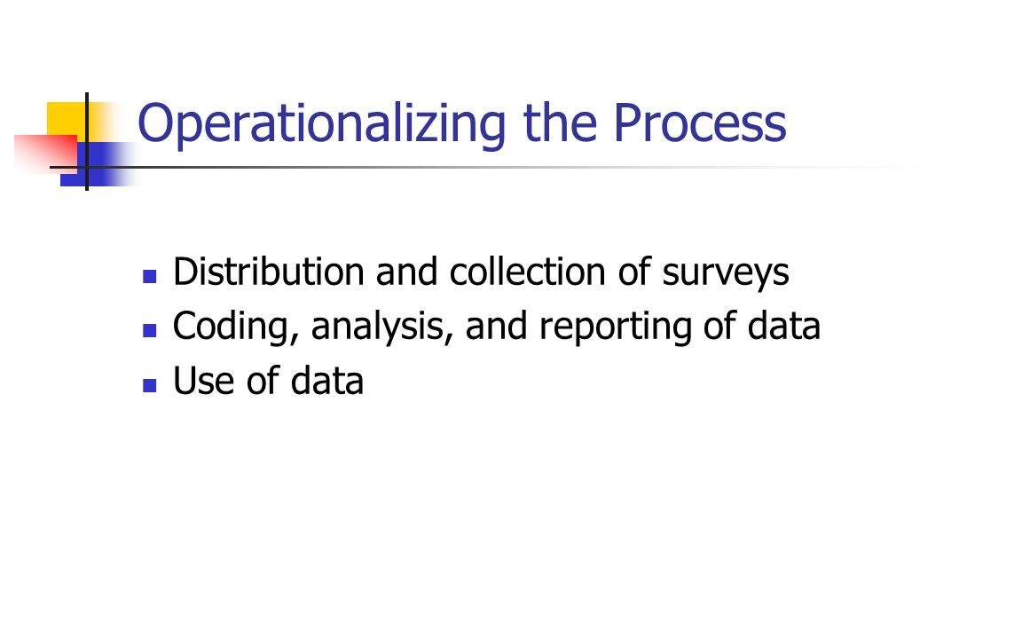 Operationalizing the Process Distribution and collection of surveys Coding, analysis, and reporting of data Use of data