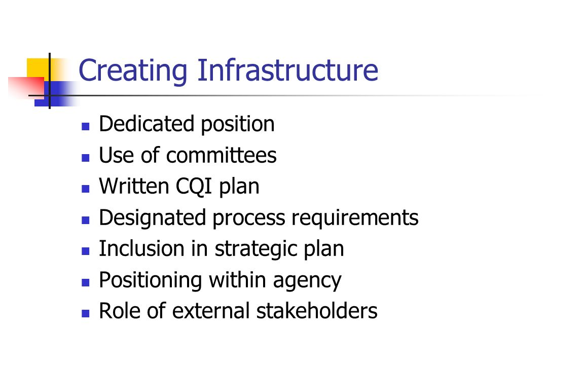Creating Infrastructure Dedicated position Use of committees Written CQI plan Designated process requirements Inclusion in strategic plan Positioning