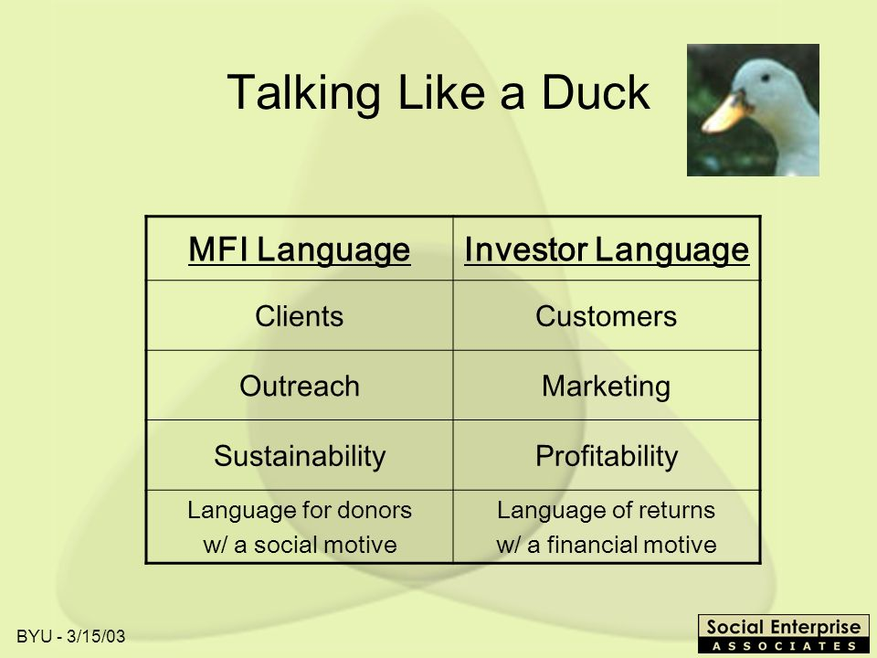 BYU - 3/15/03 Talking Like a Duck MFI LanguageInvestor Language ClientsCustomers OutreachMarketing SustainabilityProfitability Language for donors w/