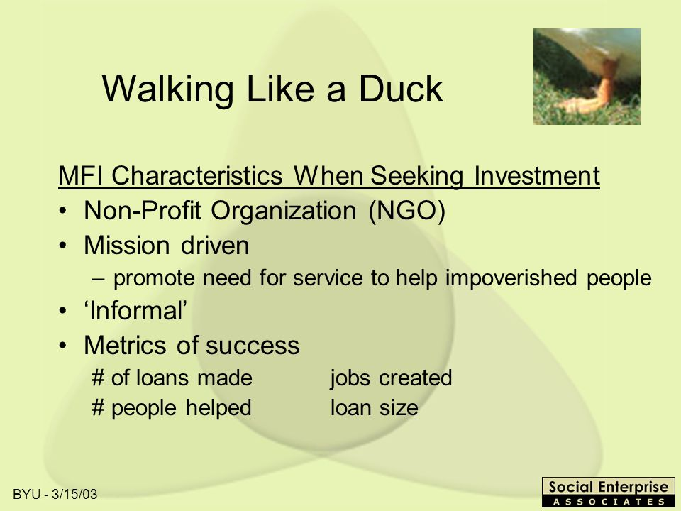 BYU - 3/15/03 Walking Like a Duck MFI Characteristics When Seeking Investment Non-Profit Organization (NGO) Mission driven –promote need for service t