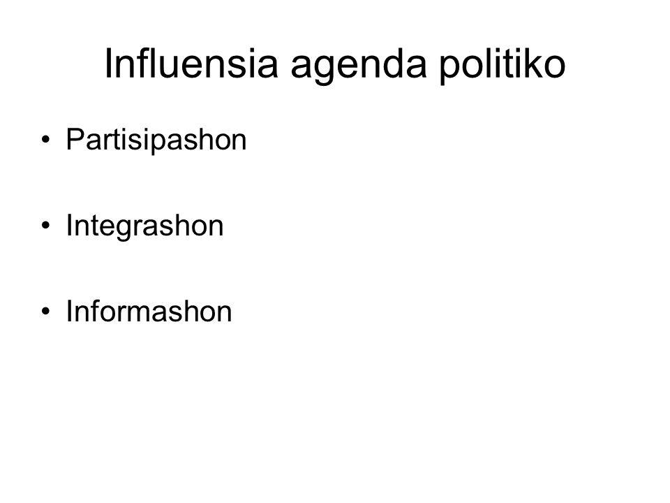 Influensia agenda politiko Partisipashon Integrashon Informashon