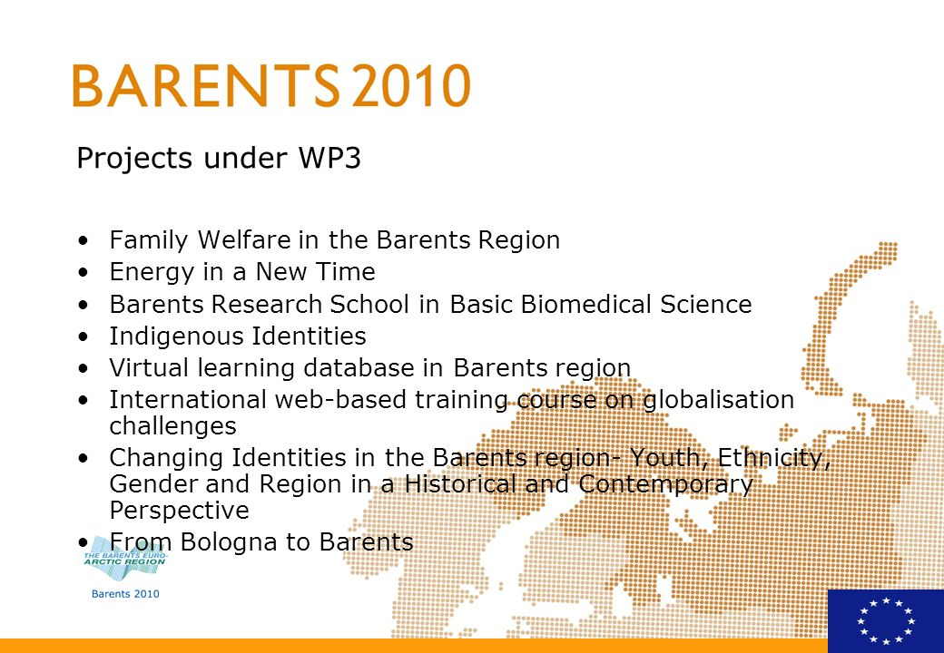 PROPOSAL FOR FUTHER WORK (1) Research and education based on a Balanced view –The Barents 2010 strategy: … to generate economic growth and social development by a knowledge driven and sustainable exploitation of the Regions natural resources and to make the Barents Region competitive on the world market –What role can education and research (institutions) play in implementing this strategy.