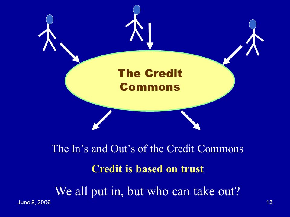 June 8, 200613 The Credit Commons The Ins and Outs of the Credit Commons Credit is based on trust We all put in, but who can take out?