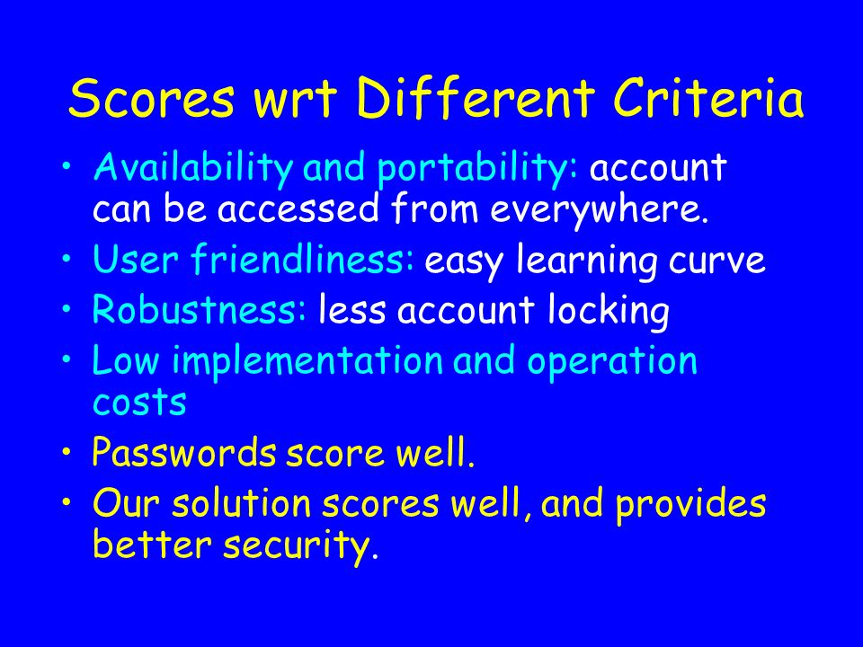 Scores wrt Different Criteria Availability and portability: account can be accessed from everywhere. User friendliness: easy learning curve Robustness