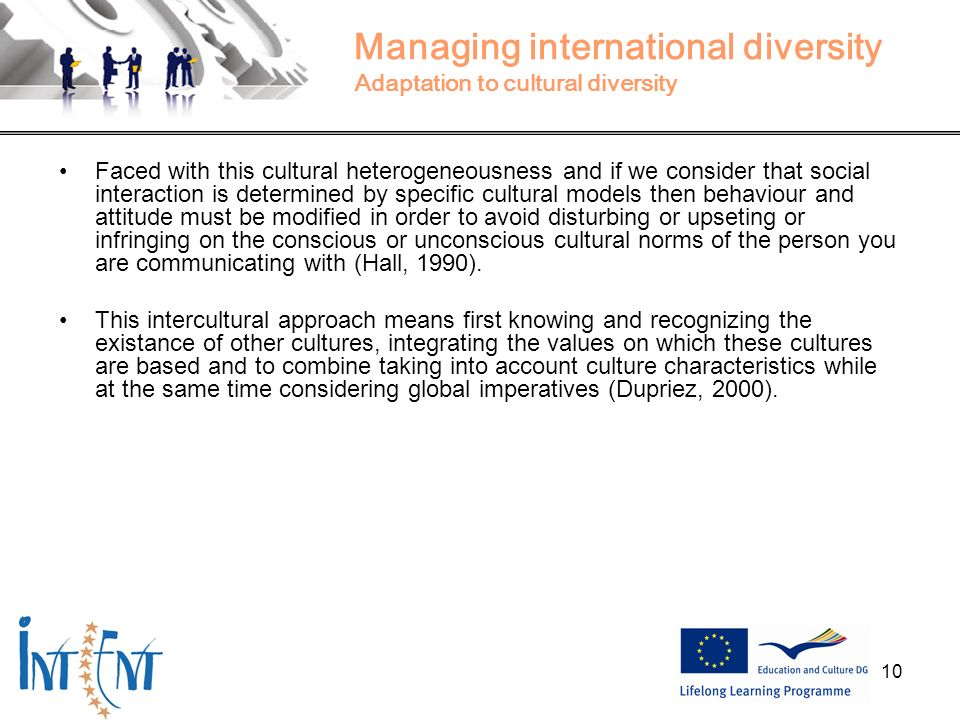 10 Managing international diversity Adaptation to cultural diversity Faced with this cultural heterogeneousness and if we consider that social interac