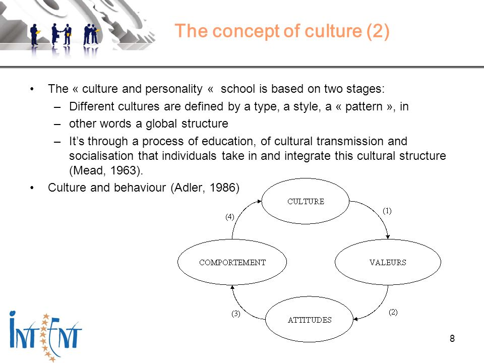 8 The concept of culture (2) The « culture and personality « school is based on two stages: –Different cultures are defined by a type, a style, a « pa