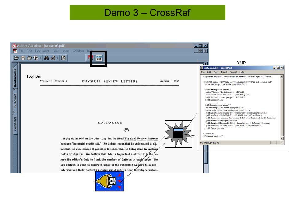 Tool Bar Demo 3 – CrossRef XMP