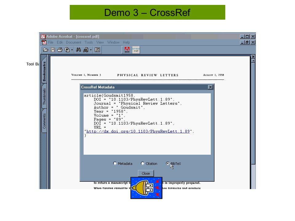 Tool Bar Demo 3 – CrossRef