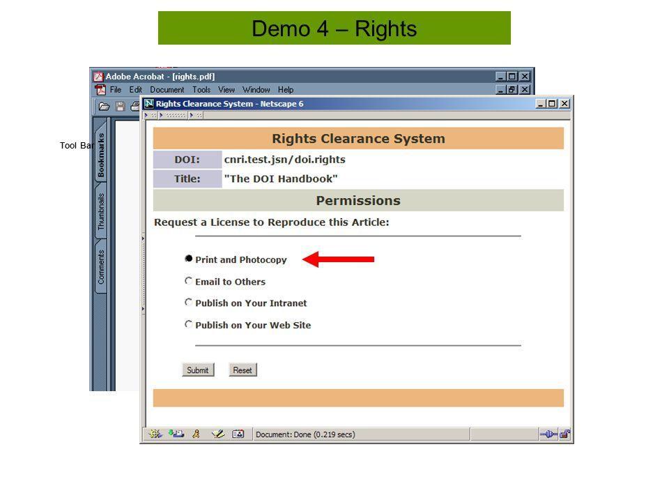 Tool Bar Demo 4 – Rights
