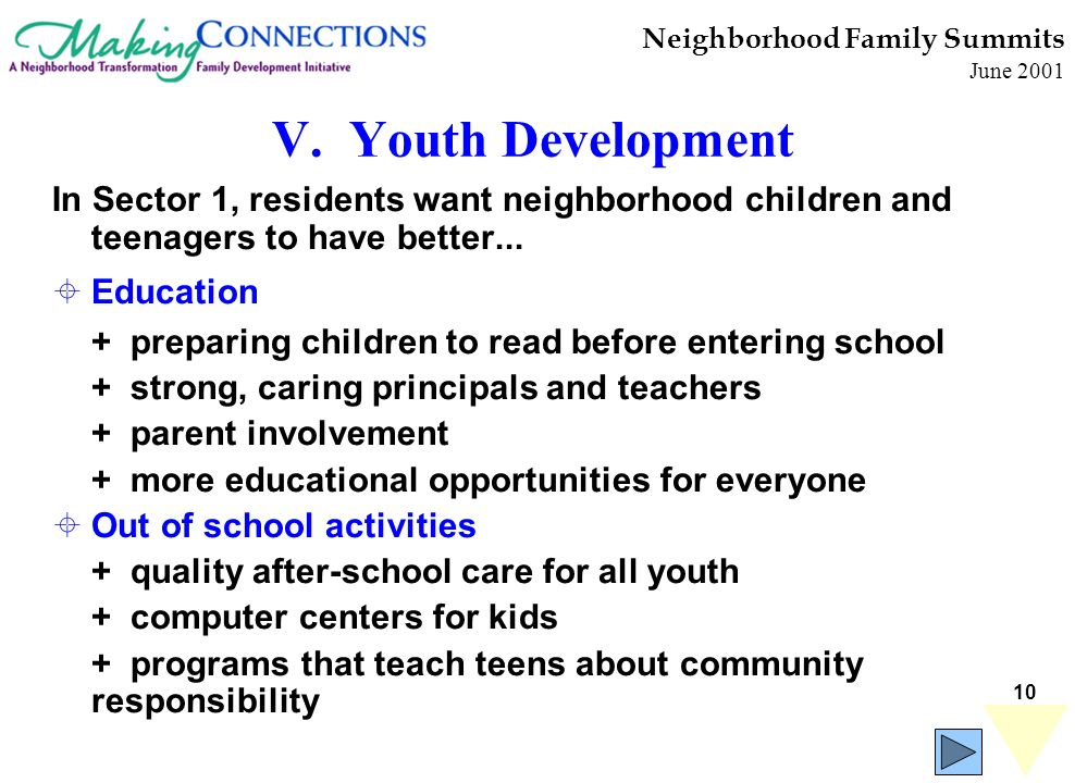 10 Neighborhood Family Summits June 2001 V. Youth Development In Sector 1, residents want neighborhood children and teenagers to have better... Educat