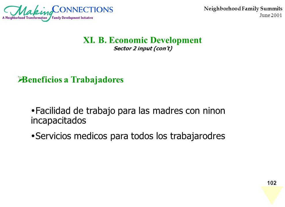 102 Neighborhood Family Summits June 2001 XI. B. Economic Development Sector 2 input (cont) Beneficios a Trabajadores Facilidad de trabajo para las ma