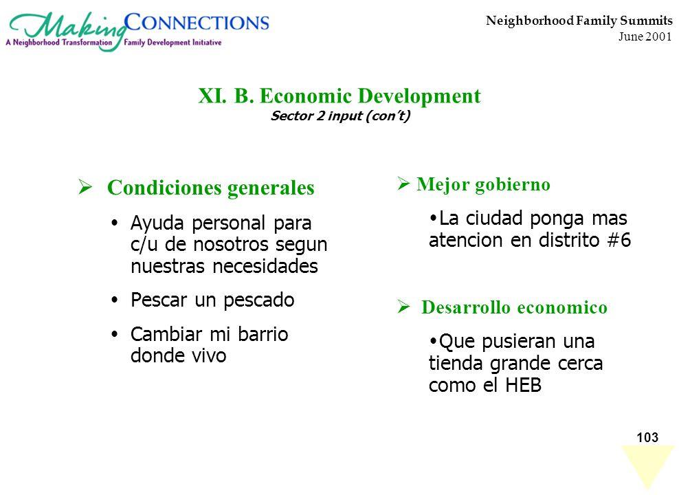 103 Neighborhood Family Summits June 2001 XI. B. Economic Development Sector 2 input (cont) Condiciones generales Ayuda personal para c/u de nosotros