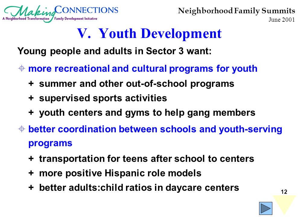 12 Neighborhood Family Summits June 2001 Young people and adults in Sector 3 want: more recreational and cultural programs for youth + summer and other out-of-school programs + supervised sports activities + youth centers and gyms to help gang members better coordination between schools and youth-serving programs + transportation for teens after school to centers + more positive Hispanic role models + better adults:child ratios in daycare centers V.
