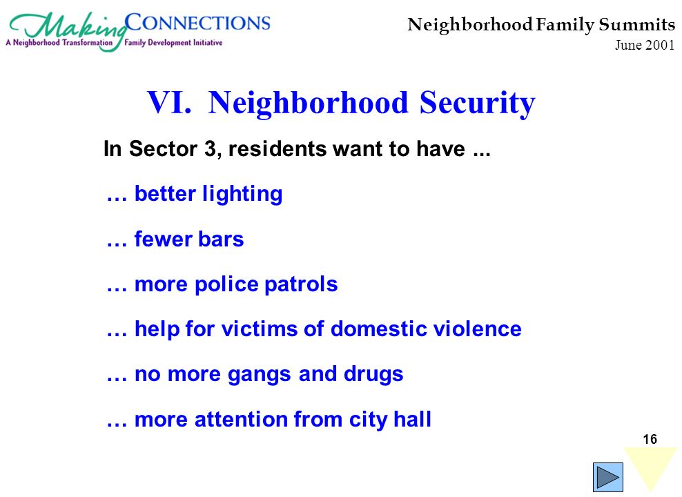 16 Neighborhood Family Summits June 2001 … better lighting … fewer bars … more police patrols … help for victims of domestic violence … no more gangs and drugs … more attention from city hall In Sector 3, residents want to have...